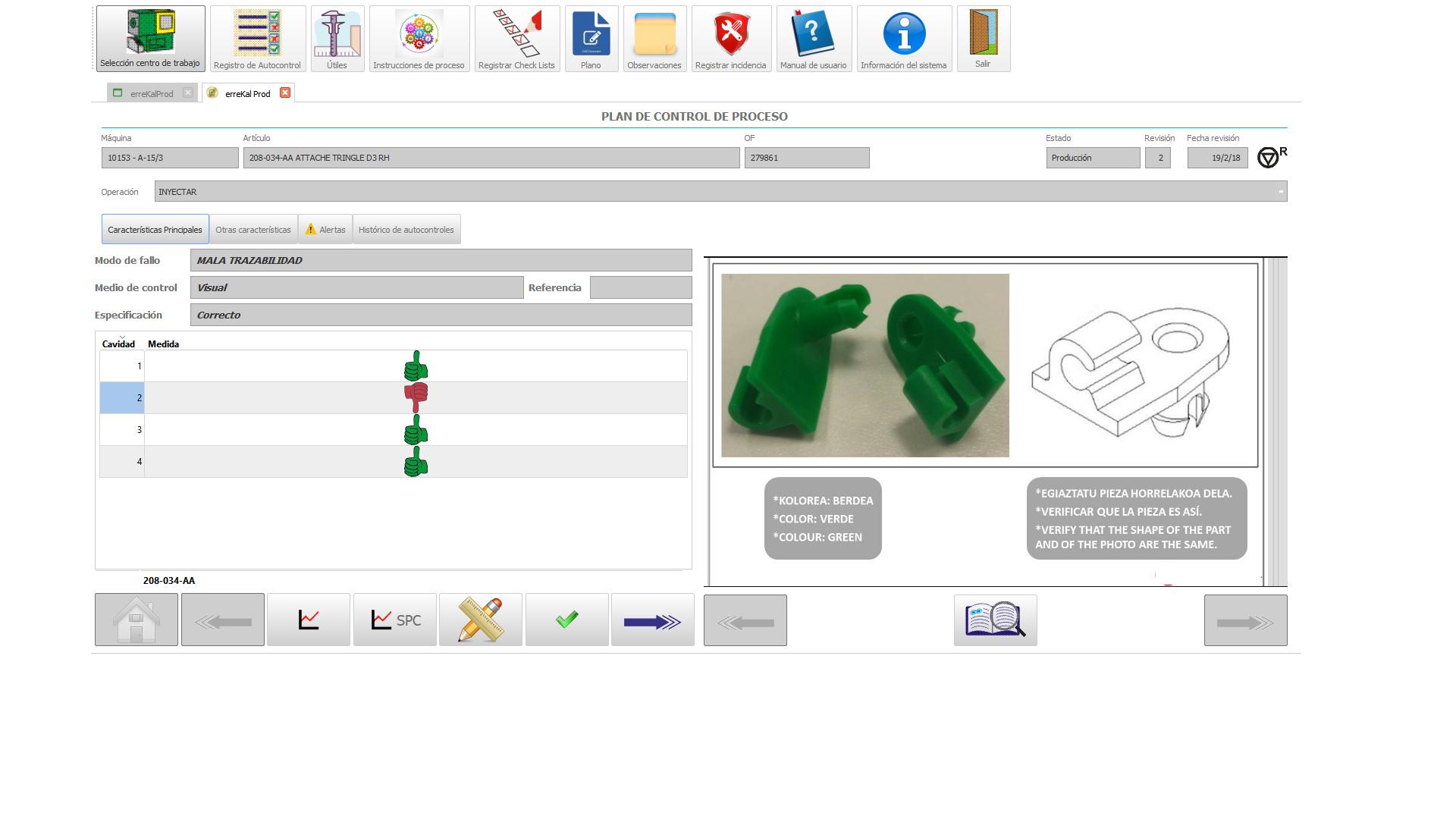 Introducción y validación de medidas en planta 1 de 2